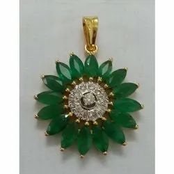 Diamond and Emerald Studded Gold Pendent