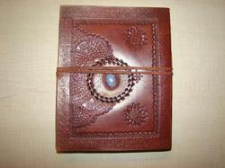 Binding Embossed Handmade Leather Journal with Stone