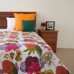 Flower Printed Kantha Bedspread