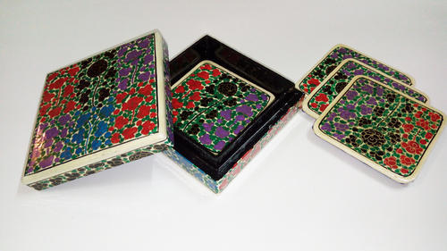 Paper Mache Handmade Coasters Size L X W X H In 4 X 4 X 2 Rs 499 Set Id 14926459497
