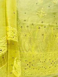 Chanderi Chikankari Suit With Mukaish Work