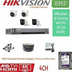Feecom HIKVISION 4K Full HD 8MP Cameras Combo KIT 4CH HD DVR 2 Bullet Cameras 2 Dome Cameras 1T