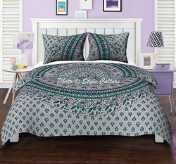 Peacock Mandala Duvet Cover White Green Quilt Cover