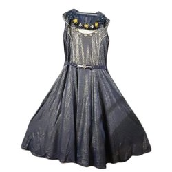 Organza Fabric Party Wear Kids Grey Imported Lycra Gown, 34*40