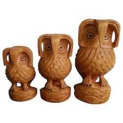 Wooden Standing Owl Set