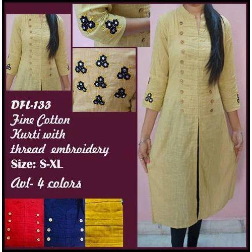 19ce073bb6 Medium Yellow Ladies Cotton Kurti With Thread Embroidery, Rs 500 ...