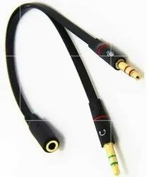 Black Headphone Earphone Mic Audio Y Splitter Cable Cord Wire for PC Laptop, For Computer, Male