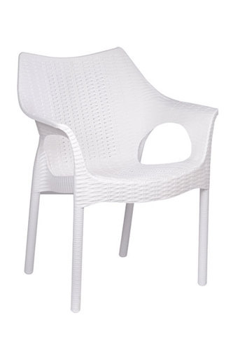 Plastic Milky White And White Stackable Chairs