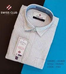Cotton Collar Neck Swiss Club Men's Casual Dobby Printed Shirt