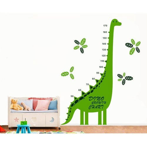 multicolor printed green dinosaur height chart wall sticker for play