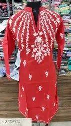Cotton Party Wear Ladies Kurti, Wash Care: Machine wash