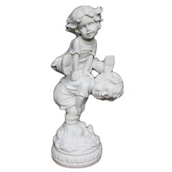 Marble Boy Girl Playing Statue