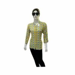 Full Sleeves Cotton Ladies Trendy Printed Shirt, Size: XL, Casual
