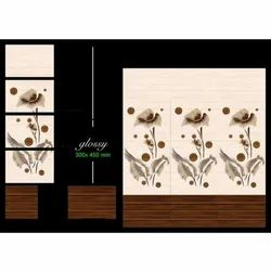 Glossy Rectangular Ceramic Wall Tiles, Size: 300 x 450 mm, Thickness: 10 mm