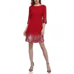 Western Wear Polyester Sunrise Red Sequin Dress