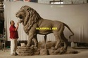 Natural Fiber Large Lion Statue For Interior Decor And Exterior Decor