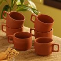 Exclusivelane Handmade Tea & Coffee Cups In Earthen Clay (Set Of 6)