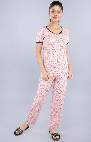 864c502f1 GOLDFOIL Printed Women Printed Pink Night Suit