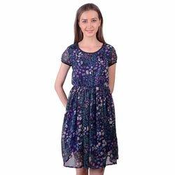 Casual Blue Chiffon Printed Dress