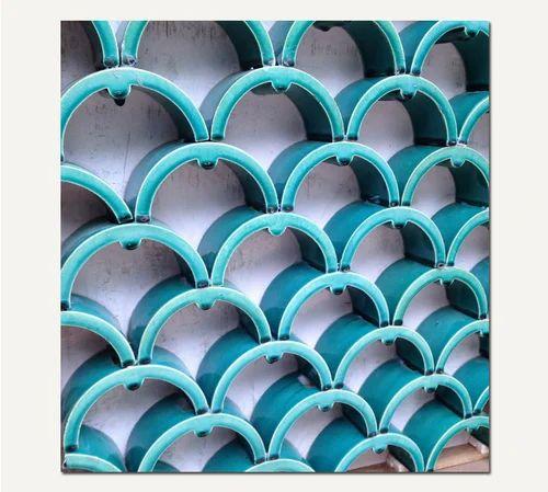 Egyptian Blue Azul Ceramic Sun Breakers-Fish Scale C   ID