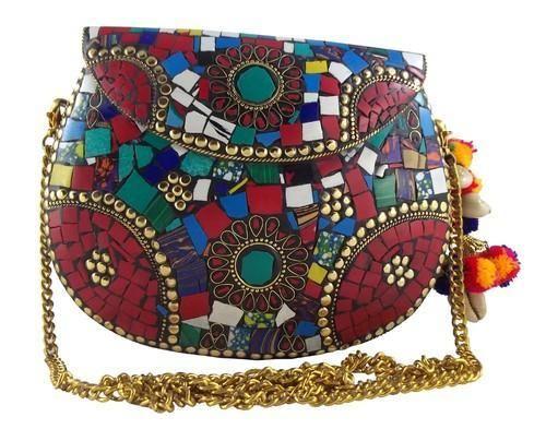 Nk Mosaic Handmade Metal Clutch Purse Evening Bag