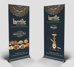 Flex Roll Up Standee Printing Services, For Promotional, Size: 3x6 Feet