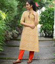 Yellow Paisley Printed Cotton Kurta