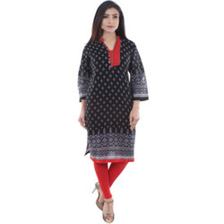 Black & Red Ladies Cotton Kurti