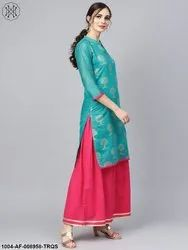 Nayo Floral Foil Print Chander Straight Kurta (With Lining)