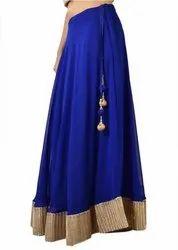 Georgette Flared Women Solid Broomstick Blue, Gold Skirt