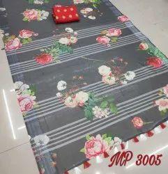 Party Wear Printed Digital Print Silk Saree, 6.3 m