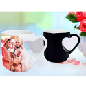 11Oz Color Changing Cut Heart Mug Sublimation printable Blanks polyester coated ceramic Glossy Gift