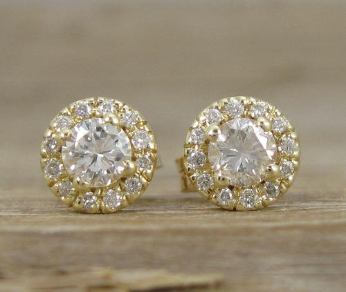 d709d05ff46 Jenu Jewel Natural Diamond Halo Stud Earrings 14k Yellow Gold