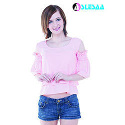 Cotton Round Neck Pink Women Top