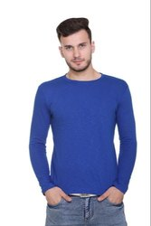 Cotton Casual Mens Full Sleeves Round Neck T-Shirt, Size: S - XL