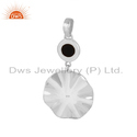 Black Onyx Gemstone 925 Sterling Silver Wavy Disc Pendant
