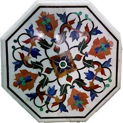 White Home Decorative Marble Stone Inlay Pietra Dura Table Top