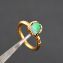 Natural Fire Opal Green Gemstone Gold Plated Ring