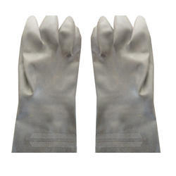 Unisex White High Quality Rubber Safety Gloves
