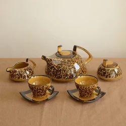 Ceramic Mughal Brown Hand Painted Tea Set