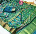Printed Pure Ikkat Cotton Silk Saree With 6.3 M Blouse Piece