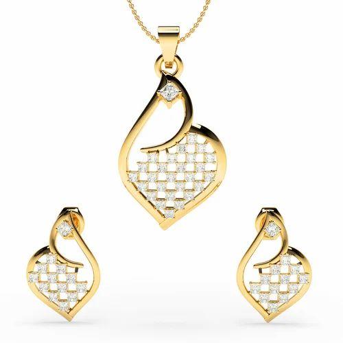 18k pan shape gold princess diamond vsg h pendant set at rs 25000 18k pan shape gold princess diamond vsg h pendant set aloadofball Images