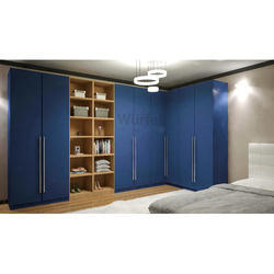 8 Door Blue German Lacquer Wardrobe for Bedroom, Thickness: 18 mm