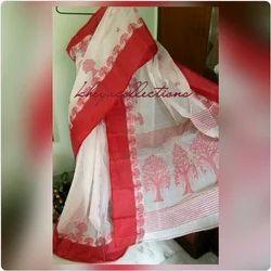 Bengali Cotton Tangail White and Red Saree, Size: 6.25 meter