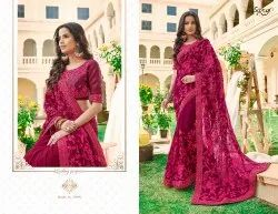 Designer Fancy Georgette Embroidery Saree