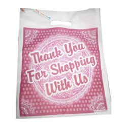 White and Pink Printed Non Woven D Cut Bag for Shopping