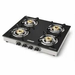 Black Glass 4 Gas Burner, For Kitchen