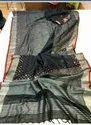 Mirror Embroidery Work On Linen Zari Border Sarees