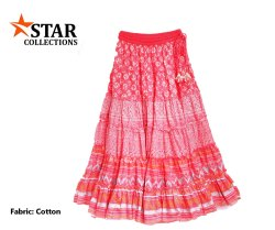 Red Ladies Long Printed Cotton Skirt
