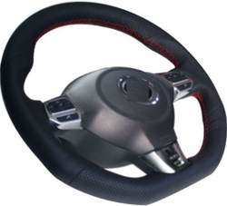 Autoform Hand Stitched Steering Cover Black Leather Size B